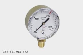 WIKA vstupní manometr průměr 63mm  pro KYSLÍK 0 - 315 bar. M12x1,5